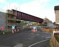 Work continuing on the new railway bridge taking the Borders Railway over Currie Road, Galashiels, on 24 October 2014. View north west towards Galashiels station.<br><br>[John Furnevel&nbsp;24/10/2014]