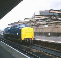 Deltic 55013 <I>The Black Watch</I> rumbles east through Haymarket station en route from 64B to Waverley on 15 June 1981.<br><br>[Peter Todd&nbsp;15/06/1981]
