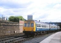 A DMU departing from Dundee with a service for Edinburgh Waverley on 12 June 1981.<br><br>[Peter Todd&nbsp;12/06/1981]