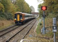 South West trains 159012 leads 159003 into Gillingham (Dorset) station on 18 October 2014 with a Waterloo to Exeter service. <br><br>[John McIntyre&nbsp;18/10/2014]