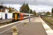 Looking north along the platform at Yeovil Pen Mill on 20 October 2014.  SWT 158886 is waiting to depart ecs for Salisbury via Castle Cary and Westbury.<br><br>[John McIntyre&nbsp;20/10/2014]