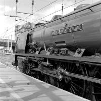 Stanier Coronation Pacific 46238 <I>Duchess of Sutherland</I> is about to draw the ECS of the <I>Cumbrian Mountain Express</I> forward on 6 September before propelling the coaches into one of the sidings on the west side of Carlisle station.		<br><br>[Bill Jamieson&nbsp;06/09/2014]