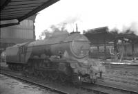 Gresley A3 Pacific 60070 <I>'Gladiateur'</I> stands on the centre road at Carlisle on 10 April 1961, having recently brought in the 9.20am St Enoch - St Pancras <I>'Thames - Clyde Express'</I>.<br><br>[K A Gray&nbsp;10/04/1961]
