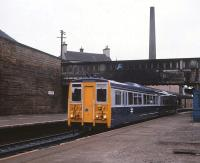 Prototype 140001 passing through Haymarket Station on 31 August 1981 during trials. The unit is currently located on the Keith and Dufftown Railway. [See image 40453]<br><br>[Peter Todd&nbsp;31/08/1981]