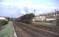 Britannia Pacific 70008 <I>Black Prince</I> takes the 5.30pm Glasgow - Carlisle train south through Crossmyloof on 25 May 1965. <br><br>[John Robin&nbsp;25/05/1965]