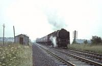 Britannia 70042 <I>Lord Roberts</I> passes Ravenstruther with a down train on 15 July 1966. <br><br>[John Robin&nbsp;15/07/1966]