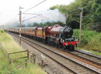 45699 <I>Galatea</I>, on one of its two 2014 <I>Fellsman</I> appearances, heads south past Broad Fall Farm at Scorton on 2nd July with the outbound train. <br><br>[Mark Bartlett&nbsp;02/07/2014]