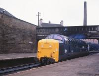 Deltic 55007 <I>Pinza</I> runs light engine through platform 3 at Haymarket on the last day of August 1981 on its way from 64B to take up ECML duties at Waverley. <br><br>[Peter Todd&nbsp;31/08/1981]