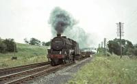 Black 5 44850 passing Cleghorn with a down freight in July 1966. [Ref query 6780]<br><br>[John Robin&nbsp;15/07/1966]