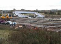 Work underway on the new car park alongside Shawfair station on 2 November 2014. The car park is located on the east side of the line and will initially provide parking for approximately 60 vehicles.<br><br>[John Furnevel&nbsp;02/11/2014]