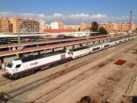A RENFE locomotive-hauled train recently arrived at Almeria on 3 November 2014.<br><br>[Bruce McCartney 03/11/2014]