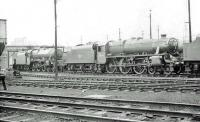 The shed yard at Carlisle Upperby on Sunday 24 June 1962. Locomotives featured are Jubilee 45681 <I>Aboukir</I> and Black 5 45313.  <br><br>[John Robin&nbsp;24/06/1962]