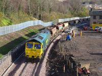 Looking south to the new Gorebridge station on 3 November as 66605 and 66610 head north with an empty ballast train.<br><br>[Bill Roberton&nbsp;03/11/2014]