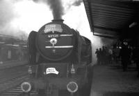 The Warwickshire Railway Society <I>Waverley Railtour</I> from Birmingham at Carlisle on 11 December 1965. A2 Pacific no 60528 <I>Tudor Minstrel</I> is in charge, having just taken over the train from 45697 <I>Achilles</I> for the journey north to Edinburgh.  <br><br>[K A Gray&nbsp;11/12/1965]