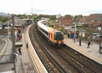 Platform scene at Dorchester South on 24 October 2014 as SWT emu 444004 calls at platform 2 with a Waterloo to Weymouth service.<br><br>[John McIntyre&nbsp;24/10/2014]