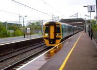 It's not every day that you see an Arriva Trains Wales service in Birmingham. 158.834 passes through a wet Stechford non-stop as it works from Birmingham International to Maccyncleth, where it splits to serve Aberystwyth and Pwllheli [see image 37262].<br><br>[Ken Strachan&nbsp;10/05/2014]