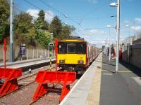 318250, newly arrived from Milngavie, stands in the sunshine at the Larkhall buffer stops in April 2008. <br><br>[Mark Bartlett&nbsp;17/04/2008]