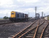 20226 stands in the yard at Bathgate on 26 May 1982, waiting to take out an empty car transporter train. Bathgate Central signal box is on the right [see image 25135].<br><br>[Peter Todd&nbsp;26/05/1982]