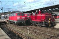 Despite the continued decline in the amount of loco haulage of passenger services in Germany, the city of Ulm remains a relative hot-spot for class 218. On the afternoon of 11 March 2008, 218 240 sets off from Ulm Hbf with the 15:51 stopping service to Illertissen (on the non-electrified secondary route to Kempten), while on the right station pilot (remember these!) 364 533 positions the locos (218 436 and 438) and stock for the 16:12 inter-regional express to Lindau.<br><br>[Bill Jamieson&nbsp;11/03/2008]