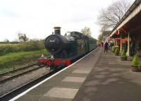 Ex GWR Collett 0-6-2T no. 5637 arrives back at Cranmore station on the East Somerset Railway at just after midday on 25 October 2014.<br><br>[John McIntyre&nbsp;25/10/2014]