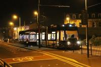 Early evening at Fleetwood Ferry in November 2014 as <I>Flexity</I> 004 waits in front of the North Euston Hotel prior to returning to Starr Gate. [See image 40940]<br><br>[Mark Bartlett&nbsp;05/11/2014]