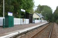 Platform view east at Beasdale looking towards Lochailort in September 2005. The station was originally intended as a private halt serving nearby Arisaig House but became a public station from the outset following its opening in 1901. The former (refurbished) station house is now a holiday home.<br><br>[John Furnevel 27/09/2005]