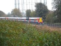 South West Trains 458508 approaching Reading Station on the ex Southern line, near the site of the former Reading South shed on a service from London Waterloo via Staines. Photographed on 30 October 2014 from a passing train on the GW main line.<br><br>[David Pesterfield&nbsp;30/10/2014]