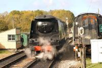 Bulleid West Country Pacific 34070 <I>Manston</I> in action at Norden on the Swanage Railway on 19 October 2014, the final day of the autumn steam gala.<br><br>[John McIntyre&nbsp;19/10/2014]