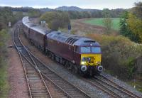 A <I>Royal Scotsman</I> private charter en route from Dundee to Edinburgh passes Inverkeithing East Junction on 23 October 2014 behind West Coast Railways 57313. <br><br>[Bill Roberton&nbsp;23/10/2014]