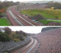 Views north and south on Borthwick Bank during a wet and windswept 6th November 2014. [See Image 40919]. The view south in particular brings to mind AJ Mullay's description of the Waverley Route's <I>'serpentine succession of curves'</I>.<br><br>[David Spaven&nbsp;06/11/2014]