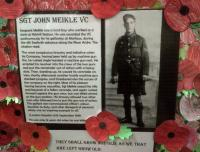 A tribute to Sgt John Meikle VC, a former clerk at Nitshill station on the south side of Glasgow. Photographed at St Vincent's School where, on 11 November 2014, members of the Meikle family unveiled a memorial cairn created with Urban Roots.<br><br>[John Yellowlees&nbsp;11/11/2014]