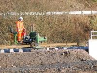 The <I>'outrider'</I> with the tracklaying team making steady progress near Heriot on 10 November. <br><br>[Ewan Crawford&nbsp;10/11/2014]