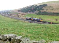 GBRf 66752 and 66736 with the rail train a little south of Heriot on 11 November.<br><br>[Bill Roberton&nbsp;11/11/2014]