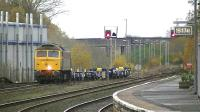 GBRf class 47 carrying the number D1916 (aka 47812) in two tone green livery passing through Kilmarnock on 12 November working 4Z47 new wagons from Barclay works to Doncaster down decoy (GBRf) sidings.<br><br>[Ken Browne&nbsp;12/11/2014]