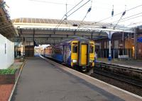 The 08.37 for Stranraer waits to leave Platform 3 at Ayr on 10 November 2014.<br><br>[Colin Miller&nbsp;10/11/2014]