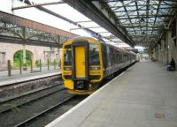 158739 forming the 1402 service to Edinburgh waits to leave bay platform 5 at Perth on 28 June 2014.<br><br>[Sandy Steele&nbsp;28/06/2014]