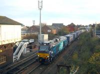 DRS 68008 passes Arbroath North signal box on 29 October with the Grangemouth-Aberdeen Intermodal.<br><br>[Sandy Steele&nbsp;29/10/2014]