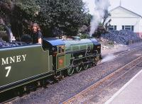 NG Pacific No 7 <I>Typhoon</I> stands at New Romney on the Romney, Hythe and Dymchurch Railway in August 1990.<br><br>[Peter Todd&nbsp;04/08/1990]