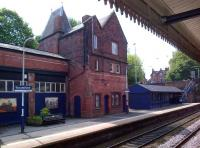 Originally opened in 1863, Knutsford station building, seen here in May 2014, shows evidence of a number of alterations over the years.<br><br>[Ken Strachan&nbsp;16/05/2014]