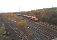 DBS 60054 running east passing Healey Mills Marshalling Yard on 17 November with the empty bitumen tanks returning from Preston Docks to Lindsey refinery, Immingham. <br><br>[David Pesterfield&nbsp;17/11/2014]