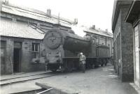 J37 0-6-0 64541 on Helensburgh shed with the shedmaster standing alongside. The photograph was taken on 22 October 1960, planned to be the last Saturday of steam operations at 65H following electrification. However, as we all know, the best laid plans... Helensburgh shed finally closed on 31 October 1961.   <br><br>[G H Robin collection by courtesy of the Mitchell Library, Glasgow&nbsp;22/10/1960]