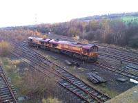 The driver of 66007+66102 proceeds slowly into the forest purporting to be the east end of Healey Mills Marshalling Yard to recover a long stored former National Power bogie wagon for road movement to a Marcroft depot for refurbishing.<br><br>[David Pesterfield&nbsp;17/11/2014]