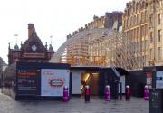 The new awning over the entrance to St Enoch Subway taking shape on 10 November 2014. [See image 4719]<br><br>[Colin Miller&nbsp;10/11/2014]
