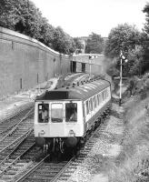 A class 115 leaves High Wycombe with a service to Banbury on 15 July 1985.<br><br>[Bill Roberton&nbsp;15/07/1985]