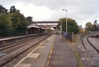 A view towards Stroud from the southern end of the Swindon bound platform at Kemble station late in the afternoon of 17 October 2014. To the right is the remains of the platform for the GWR branch to Cirencester. [Ref query 6775]<br><br>[John McIntyre&nbsp;17/10/2014]