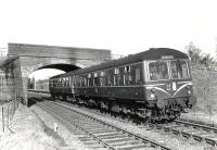 An empty DMU set leaves Uplawmoor station to run to Lugton where it will reverse. The photograph was taken on 30 March 1962, the penultimate day of passenger services to Uplawmoor.  <br><br>[G H Robin collection by courtesy of the Mitchell Library, Glasgow&nbsp;30/03/1962]