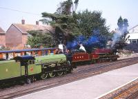 Scene at New Romney on the Romney, Hythe and Dymchurch Railway on 4 August 1990 with No 1 <I>Green Goddess</I> and No 5 <I>Hercules</I> in the station. <br><br>[Peter Todd&nbsp;04/08/1990]