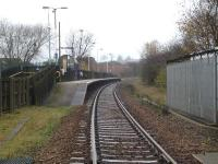 View west from the level crossing to the single platform Dodworth station on 19 November 2014. The first station out of Barnsley on the route to Penistone, Dodworth was reopened in 1989 on the site of the original 1854 station, which had closed in 1959. [Ref query 10662]<br><br>[David Pesterfield&nbsp;19/11/2014]