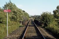 A stiff breeze swishes the foliage near Lenwade station on 16th September 1978. The view is of the rail bridge across the River Wensum, just to the north of the station (which is visible behind the distant crossing gates with a DMU railtour at the platform). Freight trains had to stop at this point to receive instructions from the staff based at the former station. After line closure and the conversion of the trackbed into a footpath and cycle route, the bridge remained as part of �Marriot's Way�.<br><br>[Mark Dufton&nbsp;16/09/1978]
