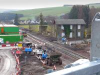 Looking south over the former Fountainhall Station on 25 November 2014.  Will the old water tower base survive?<br><br>[Bill Roberton&nbsp;25/11/2014]